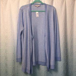 NWT Loft Blue & White Striped Cardigan